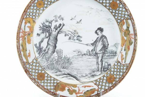 Assiette en porcelaine Compagnie des Indes Période Qianlong