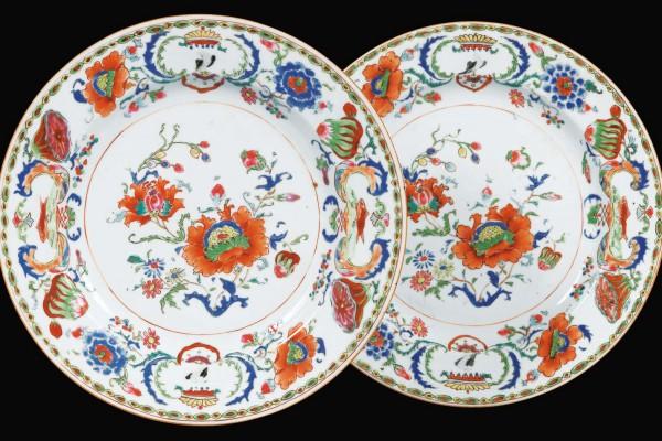 Assiettes en porcelaine Compagnie des Indes  Période Qianlong