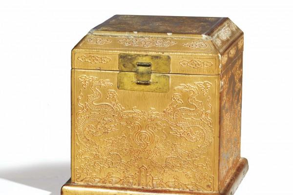 Boîte à sceaux  Bois laqué Chine Dynastie Qing