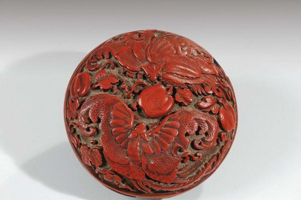 Boite couverte en laque rouge Chine Dynastie Ming