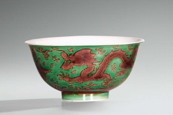 Bol en porcelaine vert et aubergine  Chine  époque Qianlong