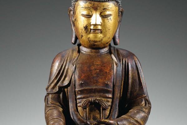 Bouddha bronze laquée Dynastie Ming
