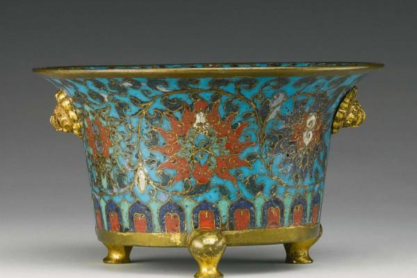Brûle Parfum Bronze Doré Cloisonné Chine Dynastie Qing