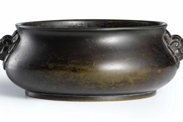 Brûle parfum  Bronze patiné  Chine Dynastie Qing