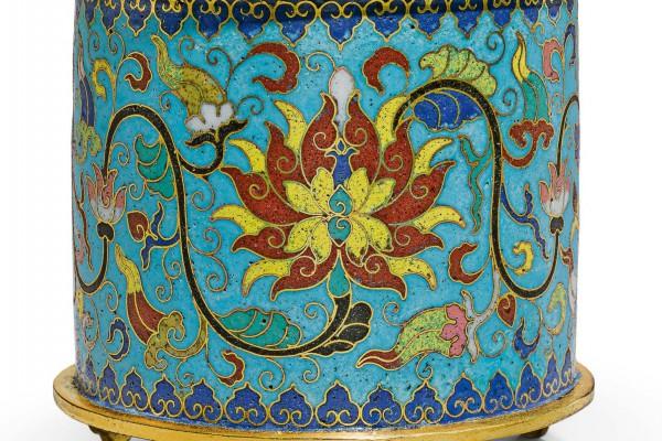 Brûle parfum cylindrique  bronze doré cloisonné   Chine  Epoque Qianlong