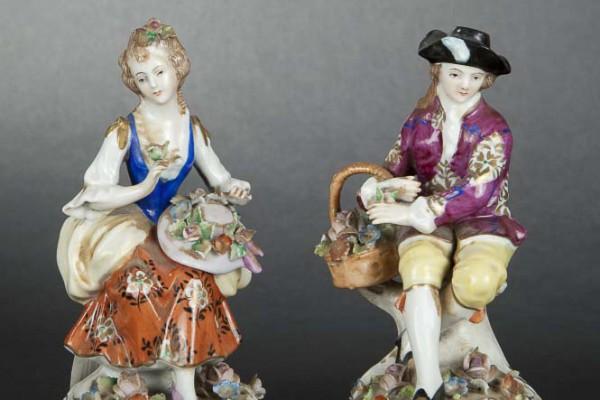 Paire de sujets Porcelaine Meissen XIXème siècle