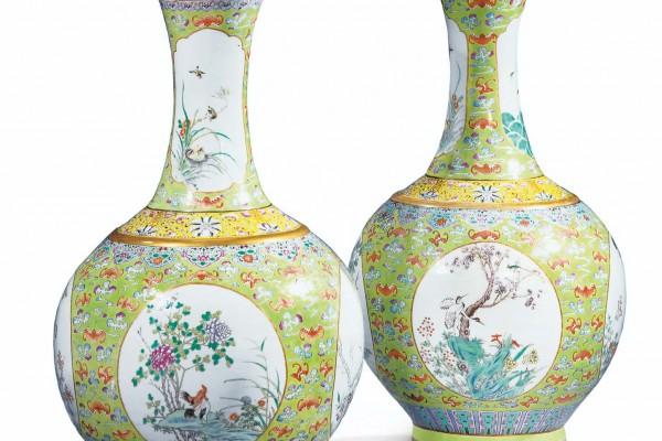 Paire de vases Famille Rose Chine Période République