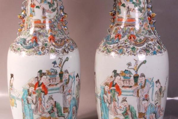 Paire de vases porcelaine    Chine   Dynastie Qing
