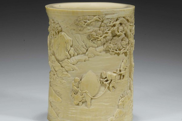 Pot à Pinceaux en Ivoire sculpté Dynastie Qing
