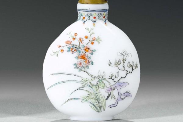 Tabatière en verre émaillé Chine Dynastie Qing