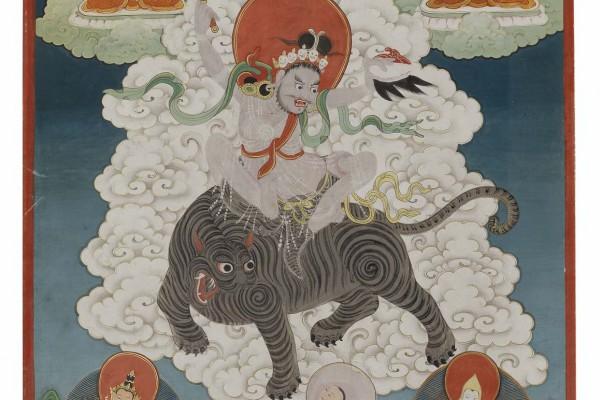 Tangka sur tissu Chine Dynastie Qing