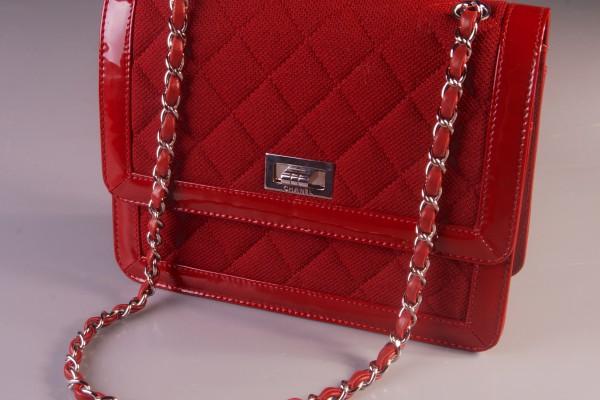 CHANEL  sac en cuir et tissu rouge