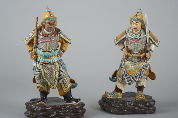 Guerriers en céramique polychrome  CHINE XX° siècle