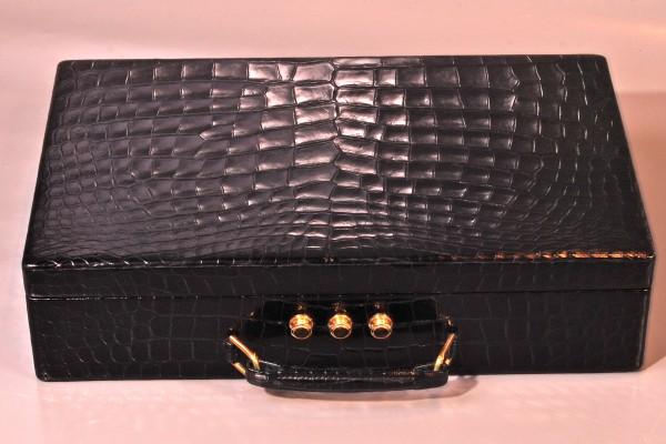 HERMES-PARIS  Malette à bijoux en crocodile noir