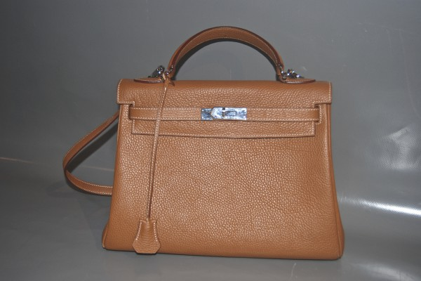 HERMES Sac KELLY Cuir togo Courchevel 35 cm • Williams Lacombe 174574b7409