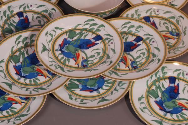 HERMES Servive en porcelaine  modèle TOUCAN