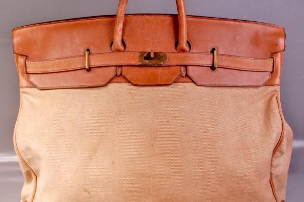 HERMES  sac à courroie en toile et cuir