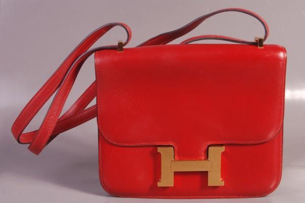 HERMES sac Constance en cuir rouge