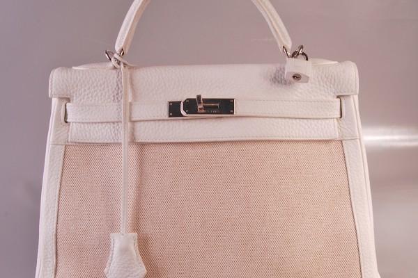 HERMES sac Kelly en toile beige et cuir grainé blanc 35 cm
