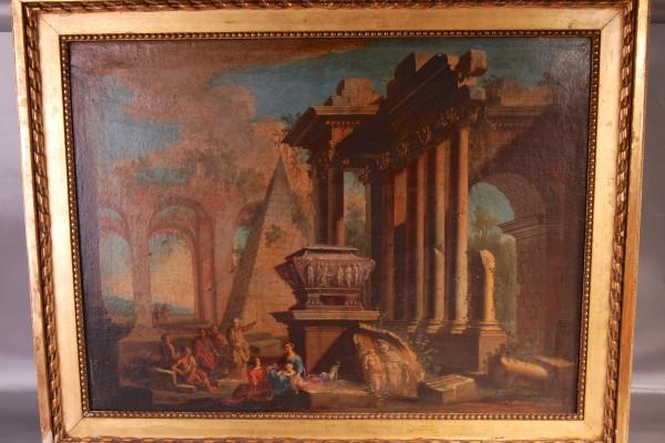 Huile sur toile Vue d'un temple      XVIII° siècle