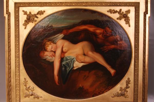 Huile:toile Jeune femme endormie et faune   Epoque XIX° siècle
