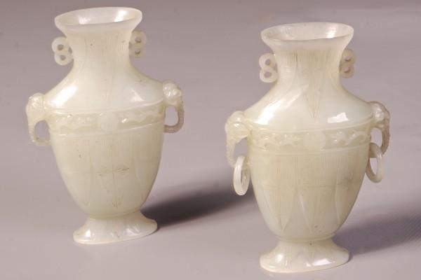 Paire de vases en jade céladon   CHINE    Dynastie Qing