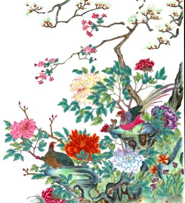 Plaque en porcelaine à décor de volatiles CHINE    Dynastie Qing