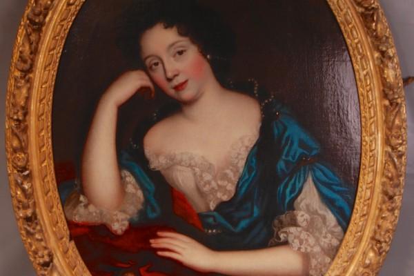 Portarit d'une    dame de qualité  Epoque XVIII° siècle       Cadre bois doré