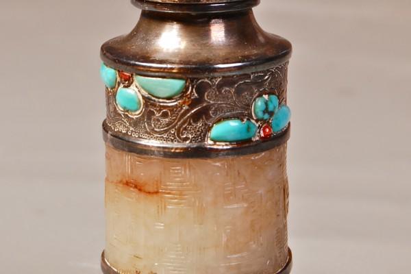 Tabatière en argent, jade et turquoises  CHINE  Dynastie Qing
