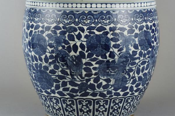 Vasque à poissons blanc bleu  CHINE   Dynastie Qing XIX° siècle