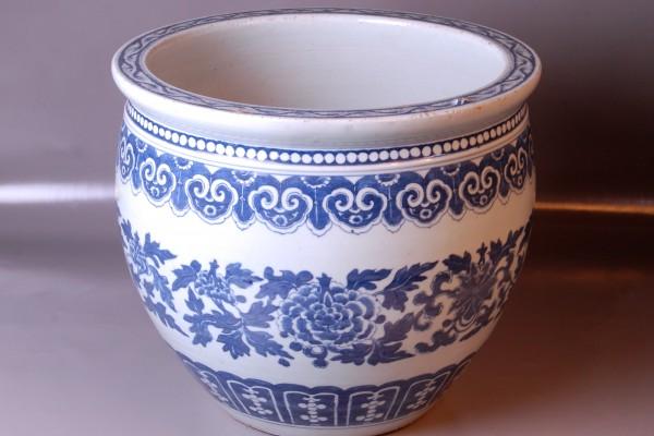 Vasque porcelaine Blanc-Bleu Chine Dyn. Qing