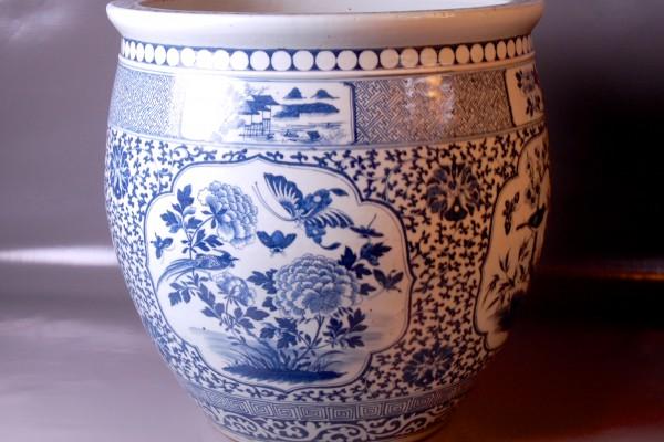 Vasque porcelaine Blanc-Bleu Chine Dynastie Qing