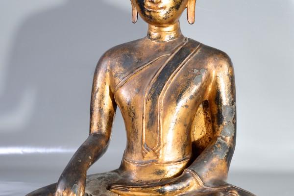 Bouddha en bronze laqué or     Thailande   XVII° :XVIII°      siècle