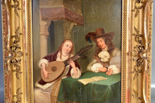 École Flamande Joueuse de luth   XIX° siècle