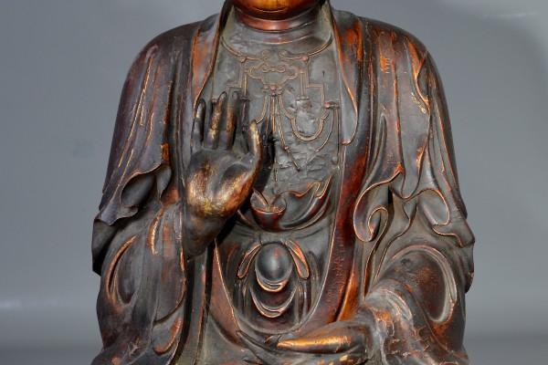 Bouddha en bois doré  Chine   Epoque Ming