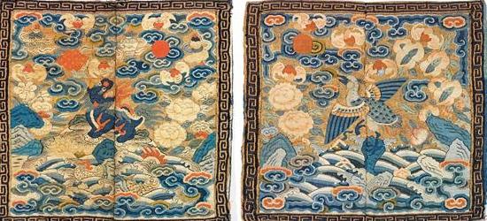 Carrés de mandarins soie tissée or          Chine       Dynastie Qing