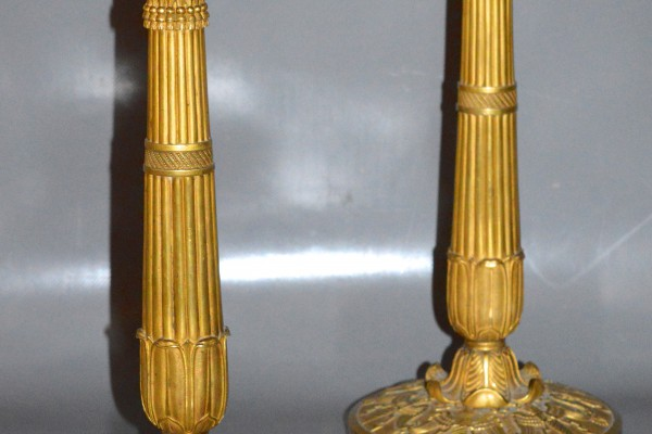 Paire de flambeaux en bronze              mat et doré     Époque Empire    XIX° siècle