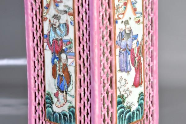 Pied de lampe en porcelaine ajourée  CHINE       Dynastie Qing