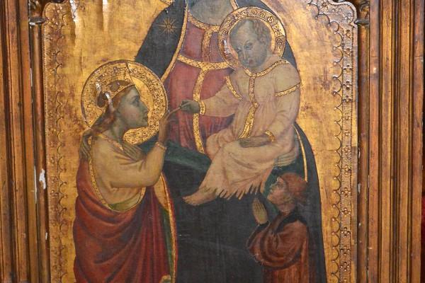 Vierge à l'enfant  Retable de style primitif XIX° siècle