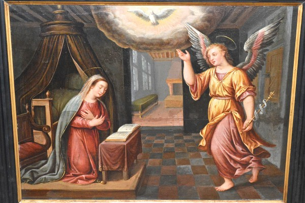 Vierge agenouillée et saint Gabriel  XVII°-XVIII° siècle
