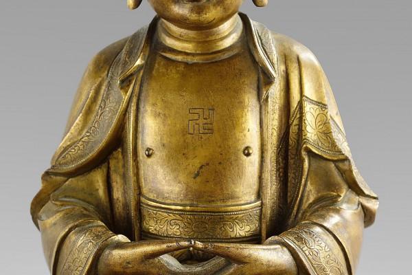 Bouddha en bronze doré  Chine        Dynastie Ming   XVII° siècle