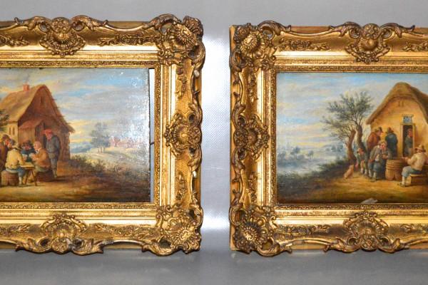 Paire de tableaux  XVIII° siècle