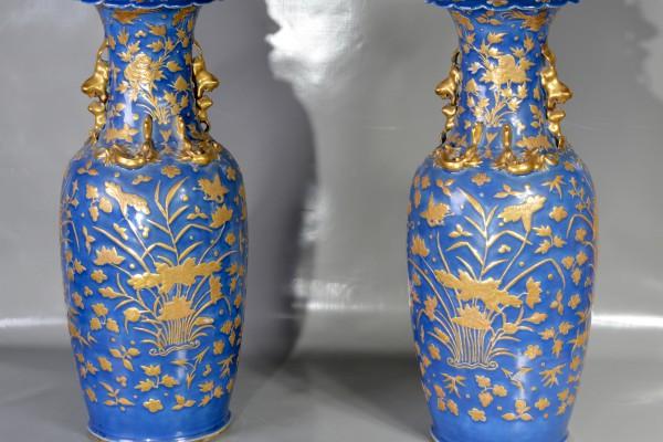Paire de vases en porcelaine bleue et or  CHINE Dynastie Qing  XIX° siècle